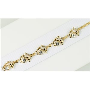 Gold Color metal bracelet set with Rhinestones L19 cm The Best Collection Chic 76034