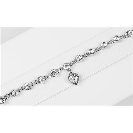 Silver Color metal bracelet set with Rhinestones L19 cm The Best Collection Chic 76035