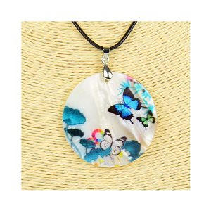 Collier Pendentif 5cm en Nacre naturelle Fashion Design L48cm New Collection 76187