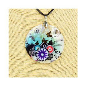 Pendant necklace 5 cm Natural Mother of Pearl Fashion Design L48cm New Collection 76188