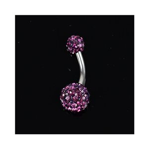 Piercing Banana nombril Acier 316L L10mm D1.6 New Collection Strass Violet 68872