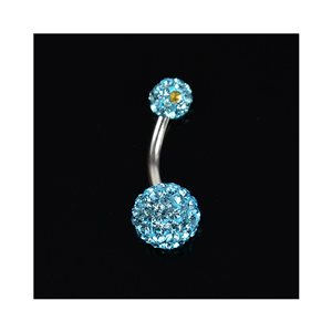 Piercing Banana navel Steel 316L L10mm D1.6 New Collection Rhinestones Blue 68875
