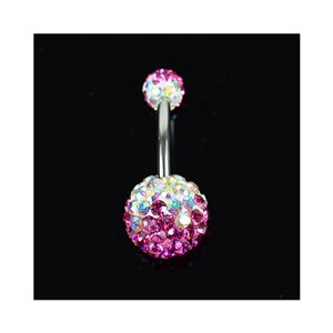 Piercing Banana navel Steel 316L L10mm D1.6 New Collection Rhinestones TriColor Rose 68881