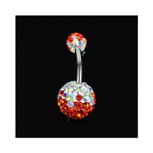 Piercing Banana nombril Acier 316L L10mm D1.6 New Collection Strass TriColor Rouge 68882
