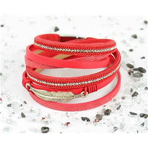 Bracelet manchette Mode Chic aspect Cuir et Strass L38cm fermoir Aimanté New Collection 76266