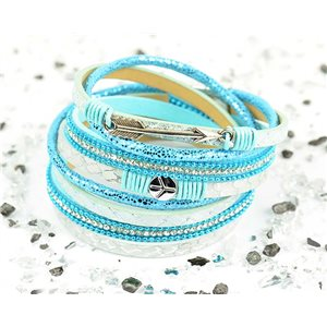 Bracelet manchette Mode Chic aspect Cuir et Strass L38cm fermoir Aimanté New Collection 76279