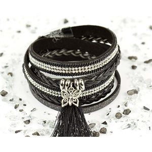 Bracelet manchette Mode Chic aspect Cuir et Strass L38cm fermoir Aimanté New Collection 76281