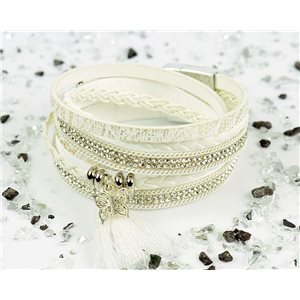 Bracelet manchette Mode Chic aspect Cuir et Strass L38cm fermoir Aimanté New Collection 76283