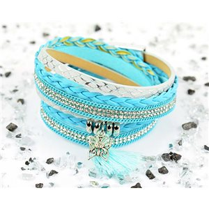 Bracelet manchette Mode Chic aspect Cuir et Strass L38cm fermoir Aimanté New Collection 76285