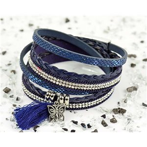 Bracelet manchette Mode Chic aspect Cuir et Strass L38cm fermoir Aimanté New Collection 76286