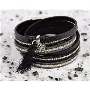 Bracelet manchette Mode Chic aspect Cuir et Strass L38cm fermoir Aimanté New Collection 76287