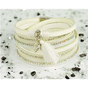 Bracelet manchette Mode Chic aspect Cuir et Strass L38cm fermoir Aimanté New Collection 76288