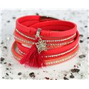 Cuff Bracelet Fashion Chic Leather Look and Rhinestone L38cm Magnetic clasp New Collection 76290