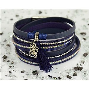 Bracelet manchette Mode Chic aspect Cuir et Strass L38cm fermoir Aimanté New Collection 76292