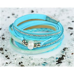 Cuff Bracelet Fashion Chic Leather Look and Rhinestone L38cm Magnetic Clasp New Collection 76303