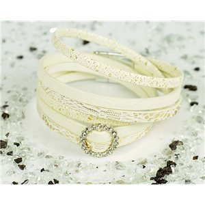 Bracelet manchette Mode Chic aspect Cuir et Strass L38cm fermoir Aimanté New Collection 76306