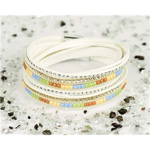 Cuff Bracelet Fashion Chic Leather Look and Rhinestone L38cm Magnetic clasp New Collection 76312