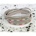 Cuff Bracelet Fashion Chic Leather Look and Rhinestone L38cm Magnetic clasp New Collection 76313