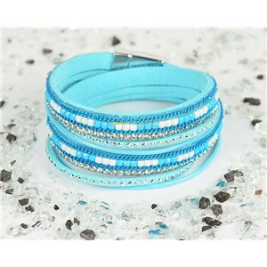 Cuff Bracelet Fashion Chic Leather Look and Rhinestone L38cm Magnetic clasp New Collection 76315
