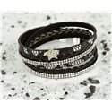 Cuff Bracelet Fashion Chic Leather Look and Rhinestone L38cm Magnetic Clasp New Collection 76324