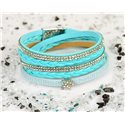 Cuff Bracelet Fashion Chic Leather Look and Rhinestone L38cm Magnetic clasp New Collection 76327