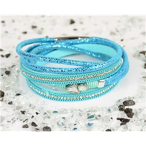Cuff Bracelet Fashion Chic Leather Look and Rhinestone L38cm Magnetic Clasp New Collection 76333
