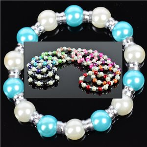 Lot of 12 Bracelets in 12 Colors Pearl and Jewelry on elastic wire 0.70 € each 76335