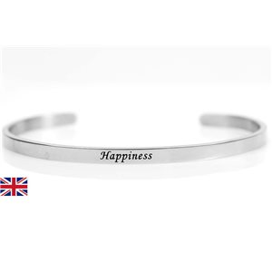 Bracelet Jonc en Acier Inoxydable 76416 Message: Happiness