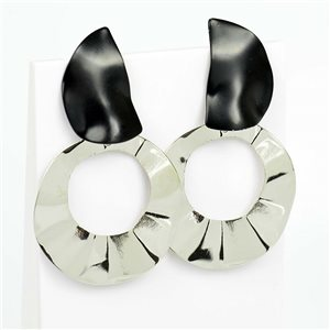 1p Earrings Nail 50mm metal color SILVER New Graphika Trend 76531