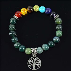 Aquatic Agate Stone Agate Charm Bracelet Charms Tree of Life Collection 76624