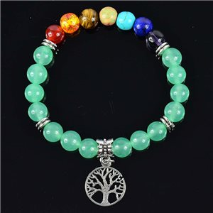 Green Aventurine Stone Happiness Bracelet Collection Charms Tree of Life 76625
