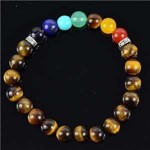 Tiger's Eye Charm Bracelet Collection Tiger Collection 7 Chakras 76630