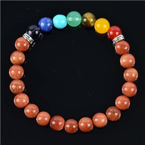 Bracelet Porte Bonheur en Pierre de Sable Collection 7 Chakras 76632