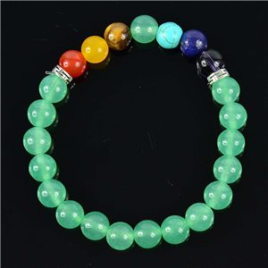 Green Aventurine Stone Happiness Bracelet Collection 7 Chakras 76635