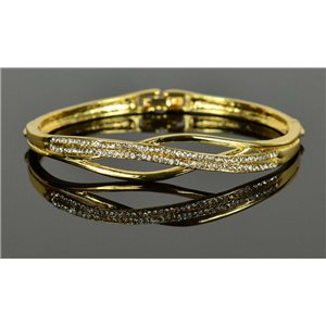 Gold colored metal bracelet Chic Collection set with Rhinestones D55mm clip clasp 76672