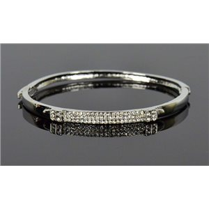 Bracelet métal couleur Argenté Collection Chic sertie de Strass D55mm fermoir a clip 76681