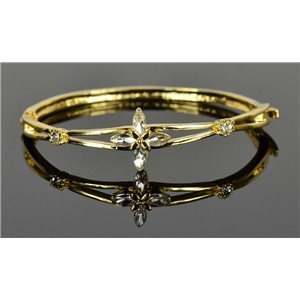 Gold colored metal bracelet Chic Collection set with Rhinestones D55mm clip clasp 76650