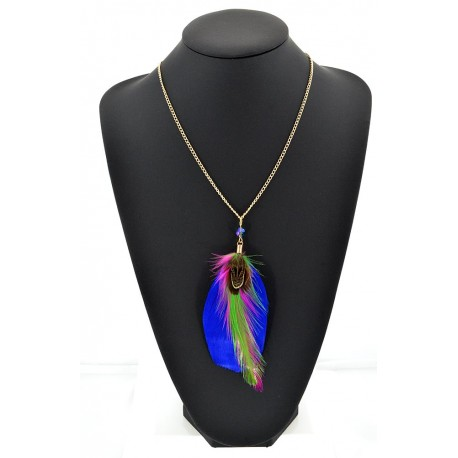 Feather Necklace pendant on a gold chain L60 cm 62316