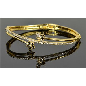 Bracelet métal couleur Doré Collection Chic sertie de Strass D55mm fermoir a clip 76654