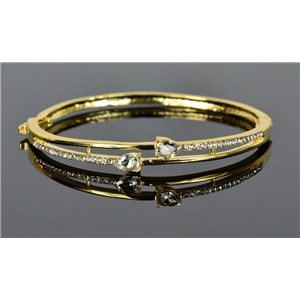 Bracelet métal couleur Doré Collection Chic sertie de Strass D55mm fermoir a clip 76660
