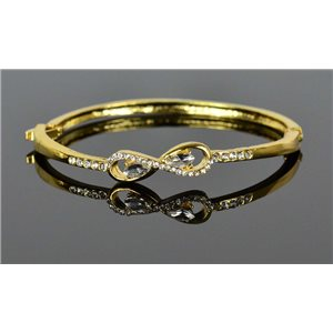 Gold colored metal bracelet Chic Collection set with Rhinestones D55mm clip clasp 76668