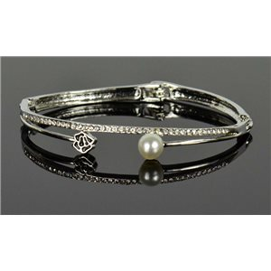 Silver metal bracelet Chic Collection set with Rhinestones D55mm clip clasp 76651