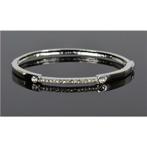 Silver metal bracelet Collection Chic set with Rhinestones D55mm clip clasp 76679