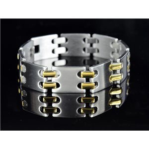 Bracelet gourmette en Acier Inoxydable Collection 2019 Gold & Silver 16mm 22cm 76409