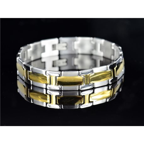 Bracelet gourmette en Acier Inoxydable Collection 2019 Gold & Silver 13mm 22cm 76638