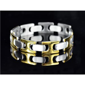Bracelet gourmette en Acier Inoxydable Collection 2019 Gold & Silver 13mm 21cm 76410
