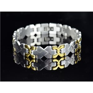 Bracelet gourmette en Acier Inoxydable Collection 2019 Gold & Silver 12mm 22cm 76406