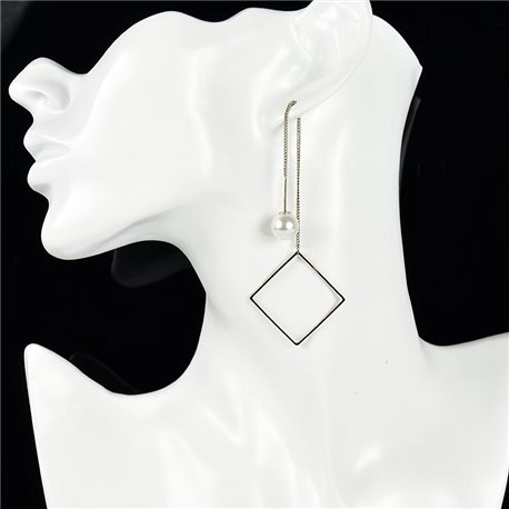 1p Earring Drop Earrings metal nail color Gray SILVER New Graphika Style 76096