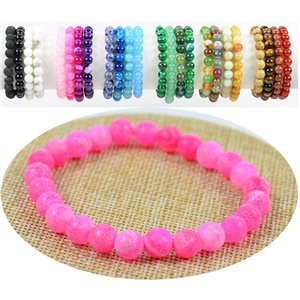 8mm Rose Stone Jade Beads Bracelet with Elastic Thread 76885