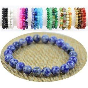 8mm Agate Lilac Stone Beads Bracelet on Elastic Thread 76888
